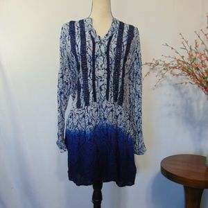 Knox Rose Tunic Top Dress Blue White Boho Sz S